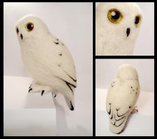 Needle felted Snowy owl by earfox
