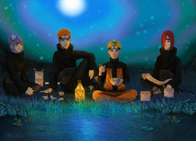 Frogs - Naruto, Nagato, Yahiko and Konan. by Denakari