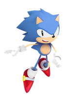 Jumping Classic Sonic Render by Vex2001