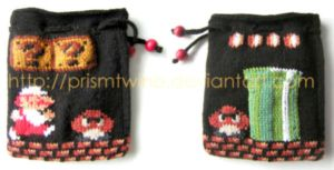 Fire Mario knit pouch by prismtwine