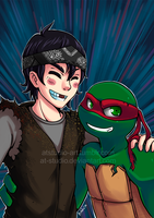 Raph and Casey Bromance - Super hype! xDD by AT-Studio