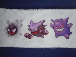 Cross-stitched Gastly Family