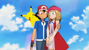 Ash Ketchum and Serena are Together with Pikachu by 9029561