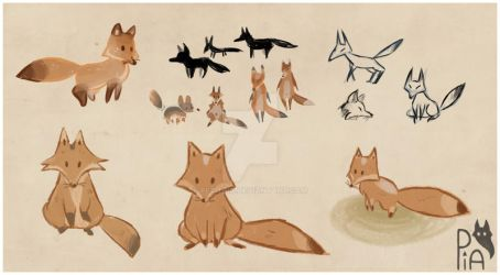 Chara Design little foxes by petitpia