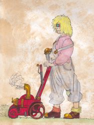 The Steampunk Lawnmower Man by AndrewJohnCraven
