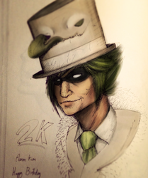 Sober magician with his top hat monster. by JackHeavenor