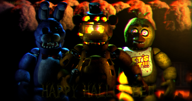 C4D|FNAF 1|Holiday|Happy Halloween! by YinyangGio1987