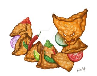 S is for Slithering Samosa by kikoeart