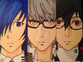 Persona 3, 4, and 5 Protagonists by tamagoart
