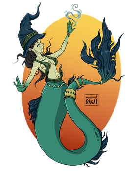 merMAY - day02 - Seawitch by moondustowl