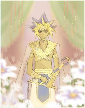 Pharaoh and flowers by Lizeth