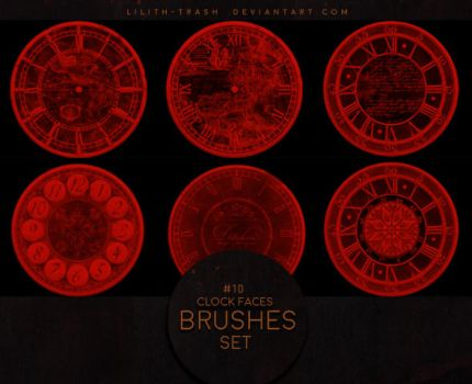 Clock Faces Brushes #5 by LilithDemoness