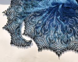 Blue hand knit shawl by NitkaAG
