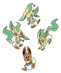 [INK, by sir-dancalot] Diapered Leafeons and Eevee by Commando125