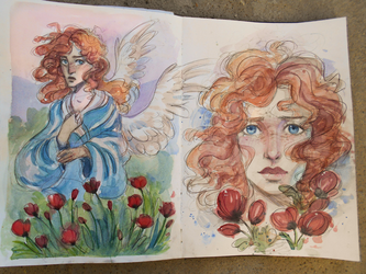 watercolor sketches by mojo123s