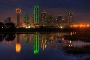 dallas reflected in the river by MichaelHawkins