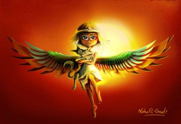 Winged Pharaonic Girl by Noha-ElGendi