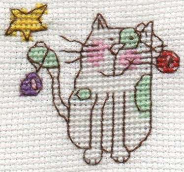 Christmas Cat cross stitch by Hami2000