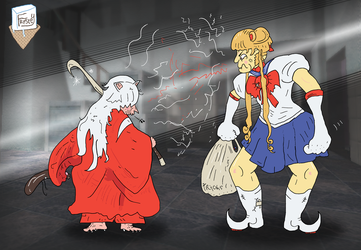 The epic standoff between Inuyasha and Sailor Moon by SnD-Frostey