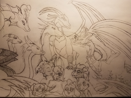 Dragon Family (black and white) by AgentCAW