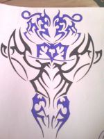black and blue tribal design by gbftattoos