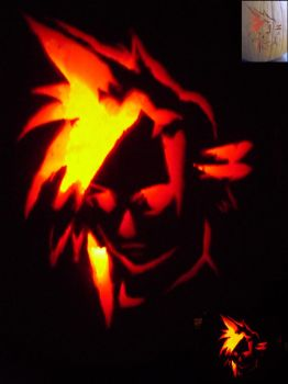 Cloud Strife Pumpkin Carving by kira7910