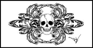 Gothic Skull Filigree Tat V4 by Quicksilverfury
