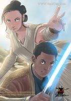Star Wars The Force Awakens fanart - Finn and  Rey by viniciusdesouza