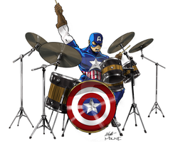 Captain America on Drums by MatthewMilne