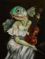 Seated Fish With Violin by nellems