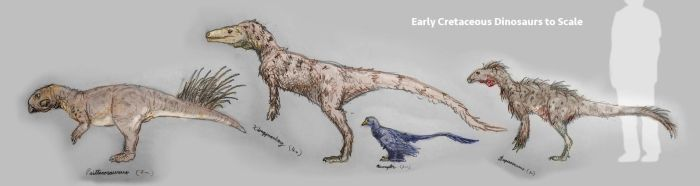 Early Cretaceous Dinosaurs to Scale by xiaorobear