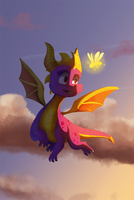 spyro in the sky by pink-ninja