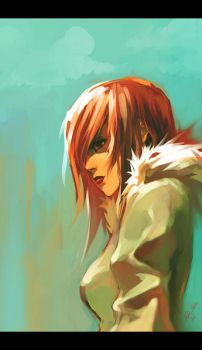 red haired girl by tobiee