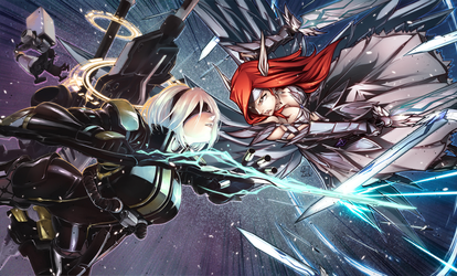 Erza vs 2B Collab colors by ComiPa