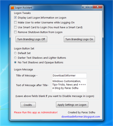 Logon Assistant-Tweak WinLogon by parassidhu