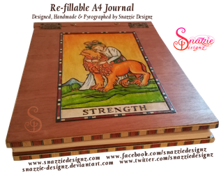 Handmade Refillable Tarot Strength Journal - End by snazzie-designz