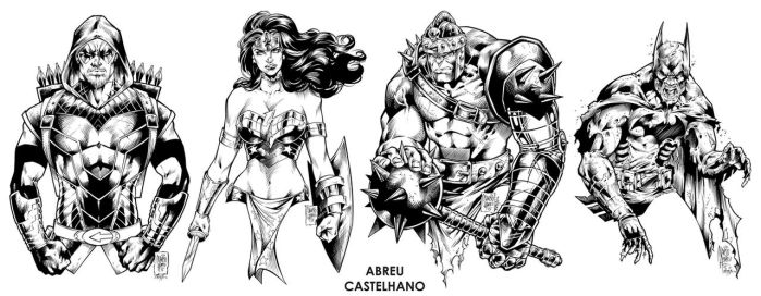 Arrow, WW, Hulk Medieval + BatZumbie (inks) by johncastelhano