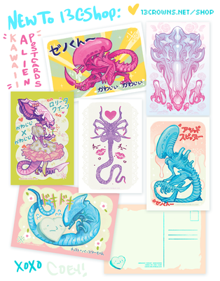 Xenomorph Postcards by CoeyKuhn