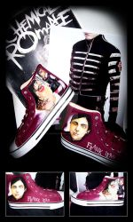 Frank Iero Customized Shoes by LieutenantDeath