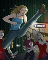 Buffy Fighting Vampires by JericaWinters