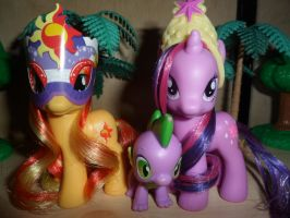 Twilight Sparkle and Sunset Shimmer(plus Spike) by MidnightRarity