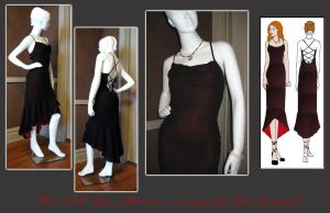 Red and Black Silk Dress by Verdaera