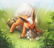 Flareon and Eevee 2 by PurpleLemon13
