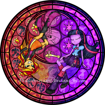 Stained Glass: Between Day and Night -Vector- by Akili-Amethyst