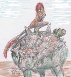 Troodon Asleep Atop Euoplocephalus by Lord-Triceratops
