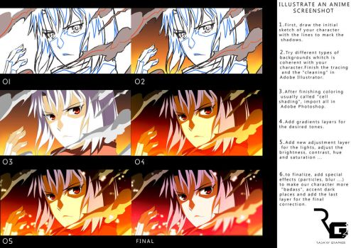 How to illustrate an anime screenshot by Radanygraphics