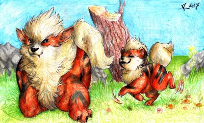 Growlithe and Arcanine by FuriarossaAndMimma
