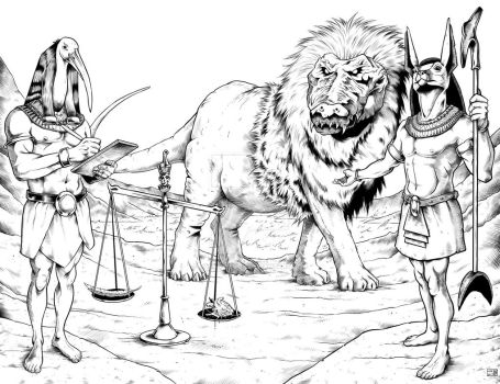 Ammit, Thoth and Anubis in the Egyptian Afterlife by Jason-Lenox