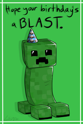 Creeper Birthday Card by Lucieniibi