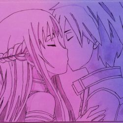 Kirito and Asuna kissing color by TheMightyElephant